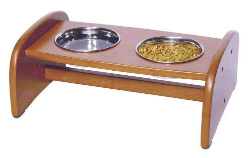 Richell Wood Pet Food Pedestal, Small, Autumn Matte Finish, My Pet Supplies