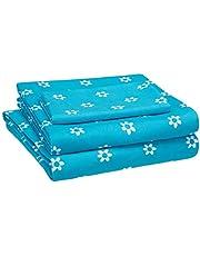 Amazon Basics Kid's Sheet Set - Soft, Easy-Wash Microfiber - Twin, Blue Flowers