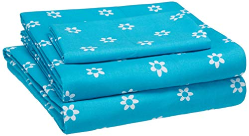 AmazonBasics Kid's Sheet Set – Soft, Polyester Easy-Wash Microfiber – Single, Blue Flowers – with Pillow Cover