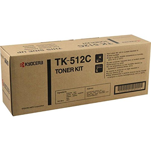 Kyocera 1T02F3CUS0 Model TK-512C Cyan Toner Kit For use with Kyocera ECOSYS FS-C5020N, FS-C5025N and FS-C5030N Laser Printers; Up to 8000 Pages Yield at 5% Average Coverage