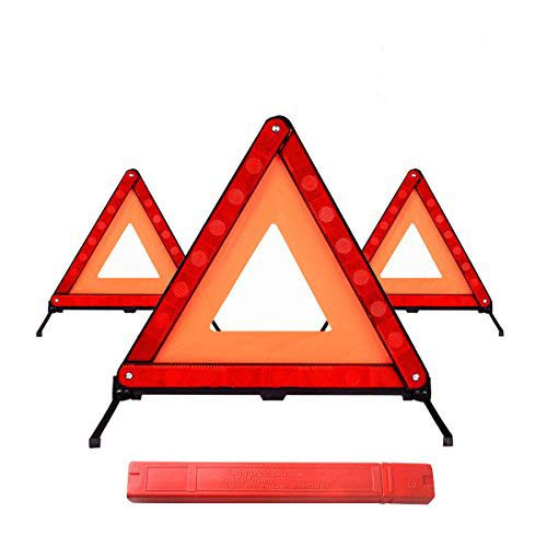 Lenmumu Safety Triangle Kit Road Emergency Warning Reflector Roadside Reflective Early Warning Sign, Foldable 3 Pack of Emergency Car Kit