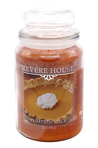 - CANDLE-LITE Revere House Scented Pumpkin Spice Single Wick 23oz Large Glass Jar Candle, Gourmand Spice Fragrance