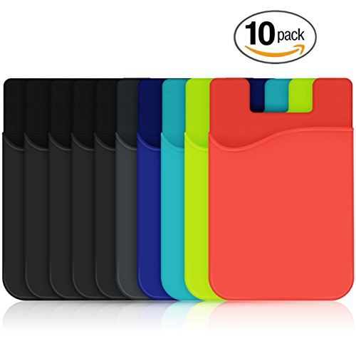 Cell Phone Wallet, HUO ZAO Silicone Credit Card Id Holder with Adhesive Stick-on fits Apple iPhone iPad Samsung Galaxy Android Smartphones, Table, Refrigerator, Door, Mixed Colors - 10 Pack
