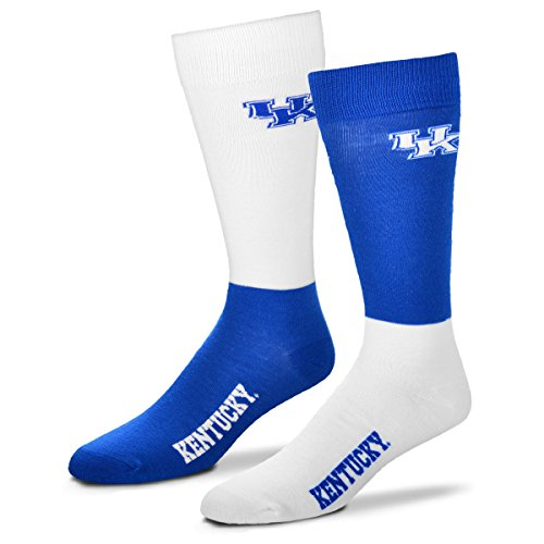 (For Bare Feet Men's NCAA 4-Square Mismatch Dress Socks-Size Large (10-13) (Kentucky Wildcats))