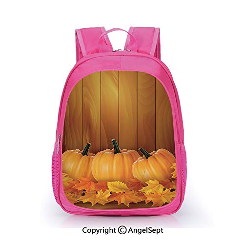 Children Schoolbag Cute Animal Cartoon Custom,Squash Vegetables Pumpkins and Wooden Planks Fallen Dry Maple Leaves Decorative Orange Yellow Dark Green,15.7inch,Fashion Lightweight School Backpack