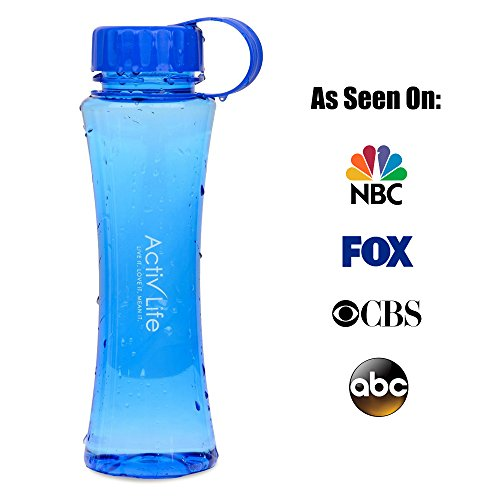 Cool BPA Free Blue Water Bottle Best for Women and Ladies Who Love Hiking, Biking, Fitness Training, Spinning, Pilates or Yoga Workouts Made in USA