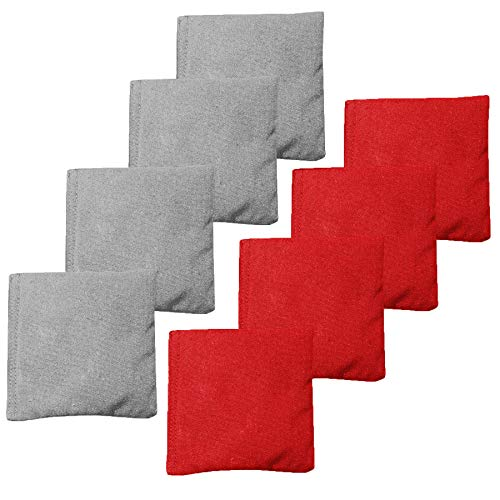 (Premium Weather Resistant Duckcloth Cornhole Bags - Set of 8 Bean Bags for Corn Hole Game - Regulation Size & Weight - 4 Red & 4 Grey)