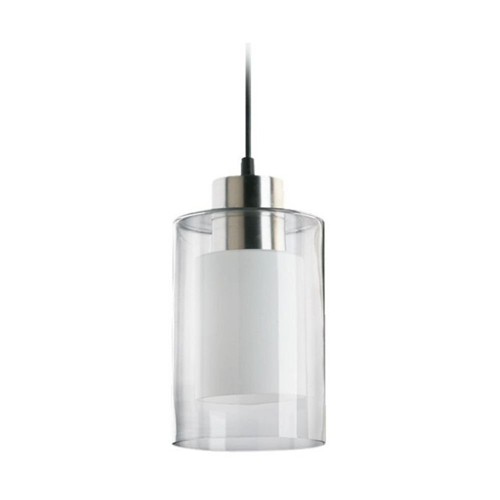 Quorum International 882-65 Down Mini Pendants with Clear And White Shades, Satin Nickel
