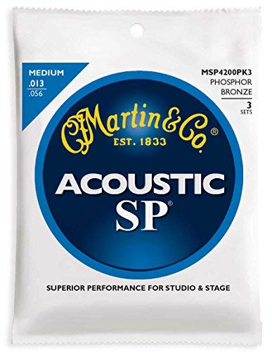 Martin MSP4200 SP Phosphor Bronze Acoustic Guitars Strings - 3 Pack by Martin