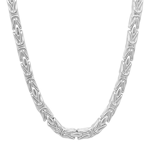 Men's 4.1mm Thick .925 Sterling Silver Italian Crafted 3D Bali Byzantine Link Chain Necklace, 24 (Sterling Silver Square Byzantine Necklace)