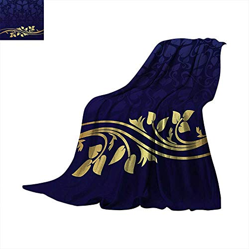 Navy Blue Lightweight Blanket Romantic Royal Leaf Pattern with Golden Colored Floral Branch with Leaves Digital Printing Blanket 60