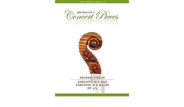 Antonio Vivaldi: Concerto For Violin In G Op.3/3. Partituras para Violín, Acompañamiento de Piano: Amazon.es: Instrumentos musicales
