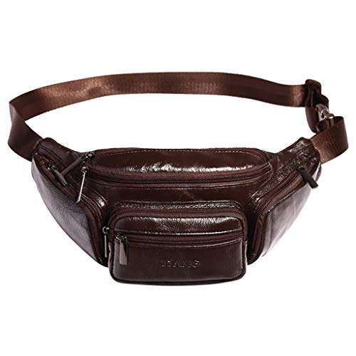 Vintage Leather Fanny Pack Waist Bag,Crytech Large Capacity Multifounction Solid Zippers Belt Hip Bum Purse for Outdoors Workout Traveling Casual Running Hiking Cycling for Men Women (Brown)