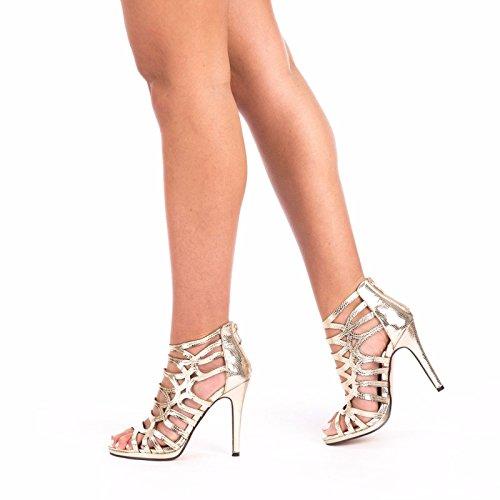 SnobUK - Zapatos con tacón mujer dorado