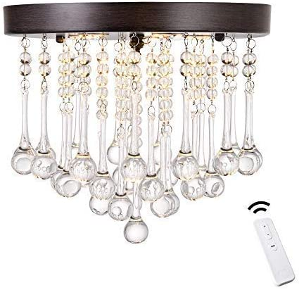 ANKEE Smart Crystal Chandelier – Modern Flush Mount Ceiling Light Compatible with Alexa and Google Assistant 11.8 D 11.8 H