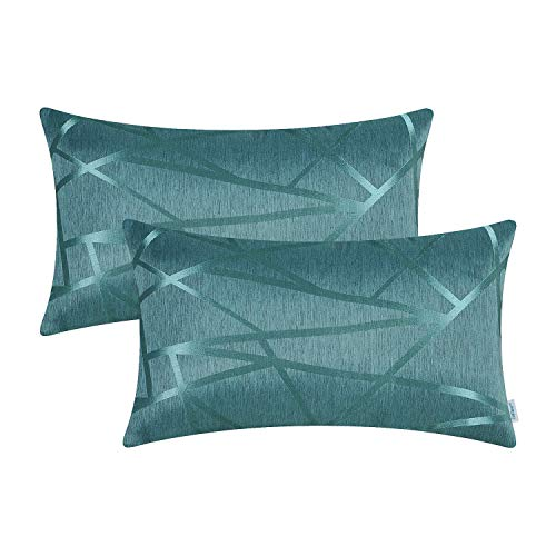 CaliTime Pack of 2 Bolster Pillow Covers Cases for Couch Sofa Home Decor Modern Shining & Dull Contrast Triangles Abstract Lines Geometric 12 X 20 Inches Teal (Cover 16x20 Pillow)