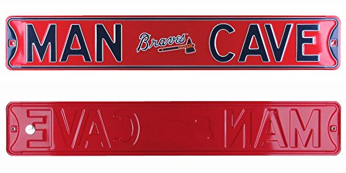 Sign Street Braves Atlanta - Atlanta Braves Man Cave Officially Licensed Authentic Steel 36x6 Red & Navy Blue MLB Street Sign