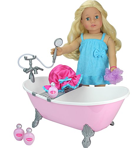Sophia's 18 Inch Doll Bathtub with Shower, Pink Clawfoot Tub Made by, Fits American Doll, Plush Animals & More! 18 Inch Doll Furniture Bathtub in Pink
