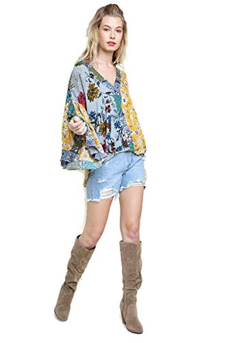 505cb120 Umgee Women's Floral Mixed Print Ruffled Sleeve Surplice Top (XL, ...