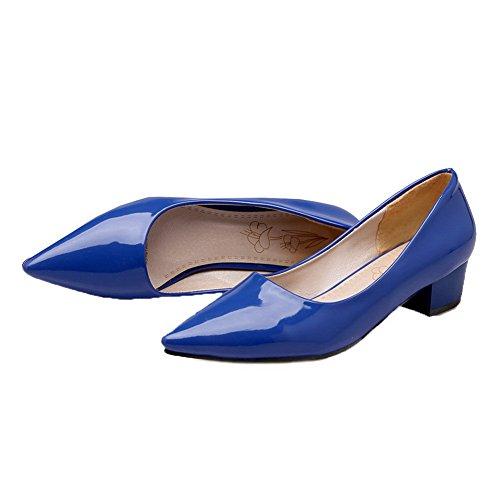 VogueZone009 Women's Pull-On Closed-Toe PU Low-Heels Pumps-Shoes Blue 3qAawfbz9n