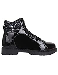 Womens Patent Hi-Tops Trainers Flat Sneakers Shoes Ladies Lace-Up Ankle Boots