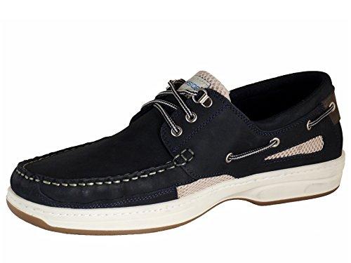 Quayside Portugiesisch Herren Leder Bootsschuhe Marineblau