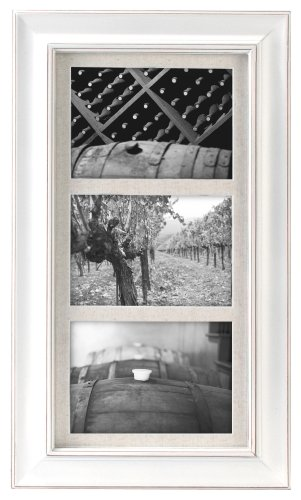 (Malden International Designs Barnside Portrait Gallery Textured Mat Picture Frame, 3 Option, 3-5x7, White)