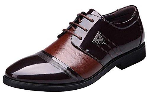 Summerwhisper Hombres Trendy Color Block Almond Toe Wingtips Con Cordones Oxfords Zapatos De Negocios Marrón