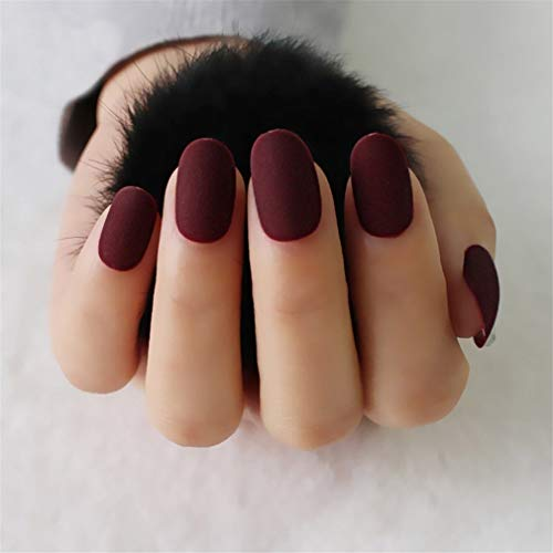 (Full Cover Short Round Head Matte False Nails Oval Frosted Acrylic Fake Nails French Artificial Nails Art Tips Wine Red)