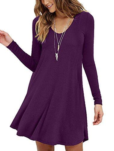 (Viishow Womens Comfy Swing Tunic Long Sleeve Solid T-Shirt Dresses(S, Long Sleeve)