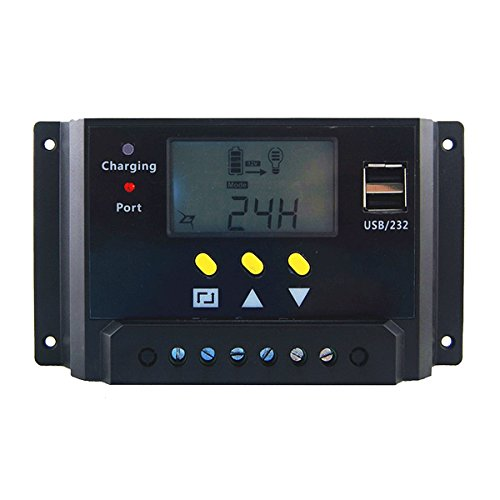 360 Panel System (Hompie 30A Solar Charge Controller Intelligent Solar Panel Regulator 12V/24V 360W/720W PWM for Solar Power Panel Energy System, Street Lighting System and Environment Monitor etc)