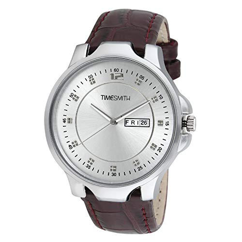 Timesmith White Dial Brown Leather Analogue Latest Stylish Men's Watch