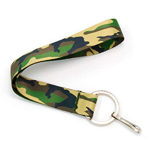 (Buttonsmith Woodland Camo Wristlet Lanyard - Short Length with Flat Ring and Clip - Made in The USA)