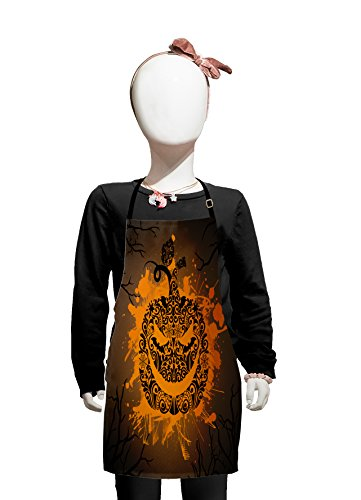 Lunarable Halloween Kids Apron, Engraved Jack o Lantern with Fire Flame Color Splash Ghost Party Theme Art, Boys Girls Apron Bib with Adjustable Ties for Cooking Baking and Painting, Brown -