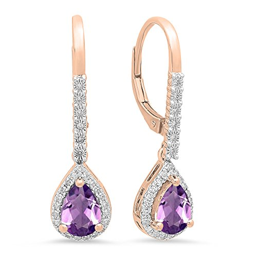 - Dazzlingrock Collection 10K 7X5 MM Each Pear Amethyst & Round White Diamond Ladies Dangling Drop Earrings, Rose Gold