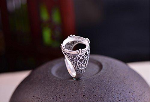 Ring Blank (12x14mm Oval Blank) Adjustable Thai Sterling Silver Filigree Cabochon Ring Setting R166B