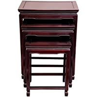 Oriental Furniture Rosewood Nesting Tables - Rosewood