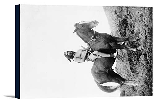 Nez Perce Indian on Horseback Edward Curtis Photograph (36x24 Gallery Wrapped Stretched Canvas)