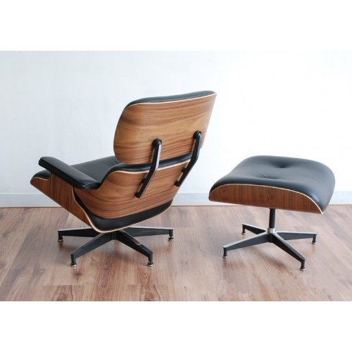 Mid Century Modern Classic Plywood Design Replica Style Walnut Wood Lounge Chair & Ottoman with Black Premium Top Grain Real Leather