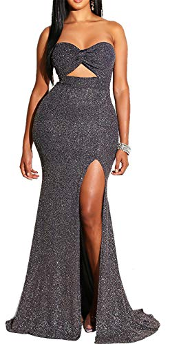 Arctic Cubic Sleeveless Strapless Twisted Cut Out Front Shiny Metallic Long Maxi Bodycon Fishtail Mermaid Bandeau Dress Black ()