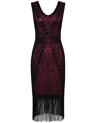 PrettyGuide Mujeres 1920s Vestido de Flapper Art Deco Lentejuela Inspirado Vestido de Cóctel Borgoña