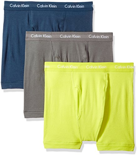 Calvin Klein Men's Underwear Cotton Classics Boxer Briefs (Pack of 3), Grey Sky/Rebel/Intuition, Small by Calvin Klein