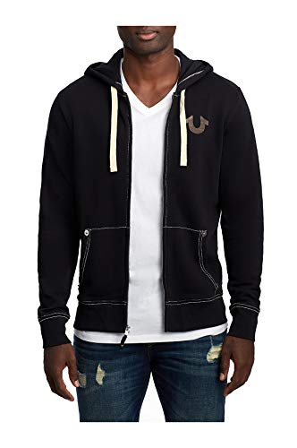 True Religion Men's Flocked Classic Buddha Logo Zip Up Hoodie Sweatshirt (XXX-Large, Black) (Mens Buddha Sweatshirt)
