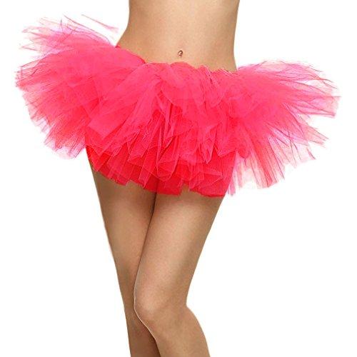 Women's Adult 5 Layered Tulle Mini Tutu Skirt, Hot Pink]()