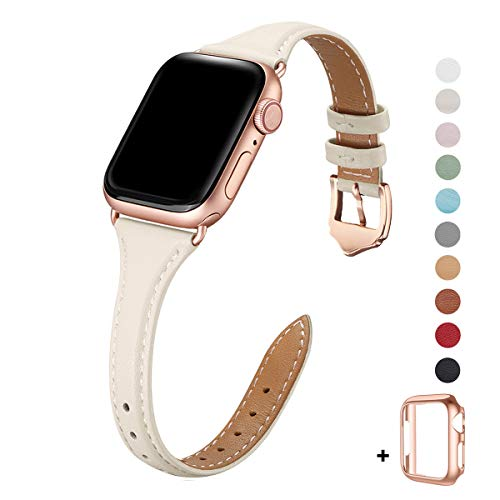 WFEAGL Leather Bands Compatible with Apple Watch 38mm 40mm 42mm 44mm, Top Grain Leather Band Slim & Thin Wristband for iWatch Series 5 & Series 4/3/2/1 (Ivory White Band+Rose Gold Adapter, 38mm 40mm)