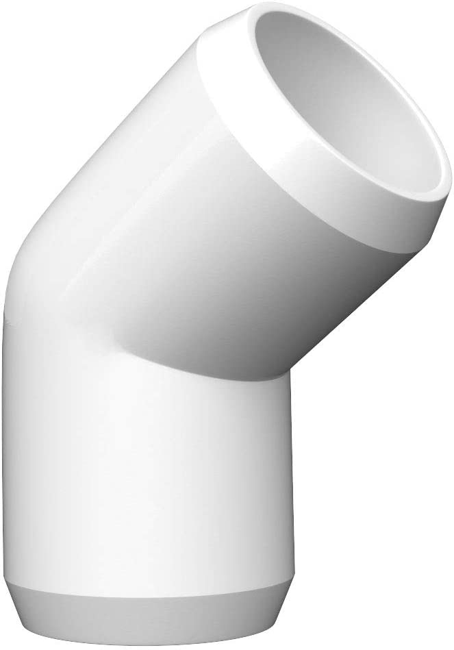 letsFix PVC Elbow Fittings 3/4 Inch, 3-Way/4-Way/5-Way PVC Connectors for SCH40 3/4 Inch PVC Pipe - Build Heavy Duty PVC Furniture and Plumbing Projects Available, White [Pack of 10] (12, 45° Elbow)