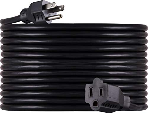 GE 40 ft Extension Cord, Outdoor, Heavy Duty, Ideal for Outdoor Lighting, Grounded, Double Insulated Cord, Long Life, UL Listed, Black, 36826