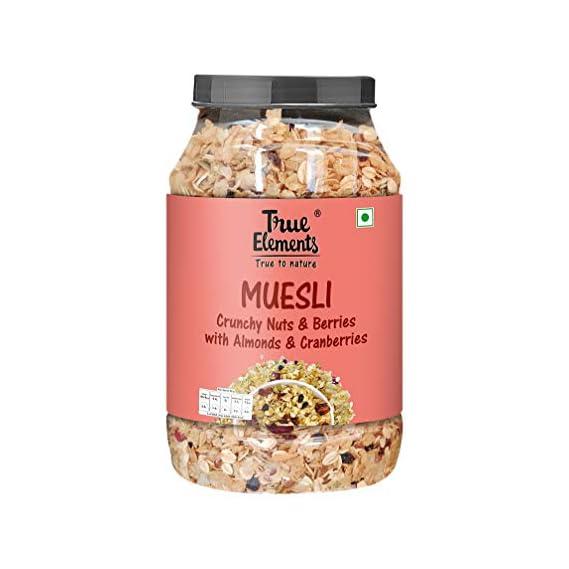 True Elements Crunchy Nuts & Berries Muesli with Almonds & Cranberries- Crunchy Muesli Nuts Delight 1kg