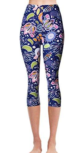 Capri Pants Jog Ladies - VIV Collection Plus Size Printed Brushed Capris (Freedom Bird)