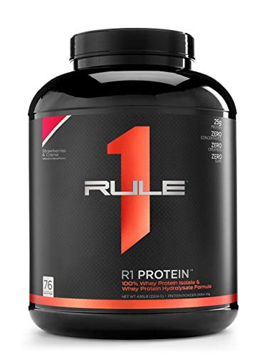Rule One Proteins, R1 Protein – Strawberries and Crème, 25g Fast-Acting, Super-Pure 100% Isolate and Hydrolysate Protein…